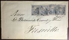 Mexico 1870 Cover And Letter With 4 X 25c Blue Hidalgo Overprint