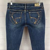 Ariya embellished womens 7/8 stretch blue distressed med wash low skinny jeans
