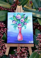 Original Acrylic Miniature on Canvas Painting Easel included Flowers in Pot