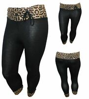 NEW LADIES LEOPARD ANIMAL PRINT 3/4 PLUS SIZE TROUSER WOMENS LEGGINGS SIZE 16-26