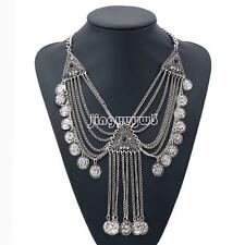 New Vintage Jewelry Ethnic Tribal Turkish Silver Coin Collar Statement Necklace