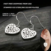 Women Fashion Jewelry 925 Sterling Silver Plated Heart Dangle Drop Hook Earrings