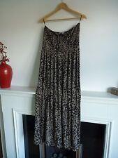 Ladies Lovely TU Black & Beige Leopard Print Full Length Halteneck Dress 18, Vgc