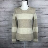 Ann Taylor LOFT Womens Long Sleeve Knit Sweater Size Small White Beige Striped