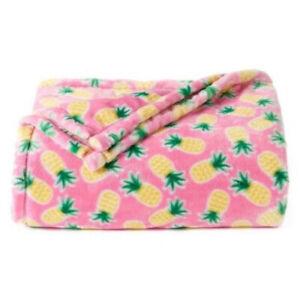 Soft Velvet Plush Pink Pineapples Throw Blanket Large Oversize Wrap Lounge Cover