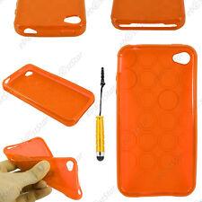 Housse Etui Coque Silicone Cercle Orange Apple iPhone 4S 4 + Mini Stylet