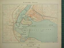 C1890 antique map ~ niagara falls ~ plan environs goat island bain island