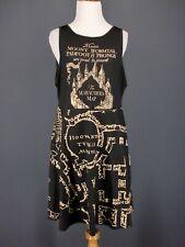 HARRY POTTER Dress XL Black Marauders Map Stretch Knit Fit Flare Skater