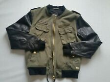 Tigha Jacket Men's Jenson Military Green Cotton Leather Arms Size M New