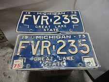 1973 MICHIGAN STATE LICENSE PLATES MATCHED SET FVR-235 FORD CHEVY PONTIAC DODGE