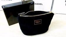 CHANEL BEAUTE BLACK Velvet Makeup Cosmetic VIP GIFT Velvet Plush Bag With Box