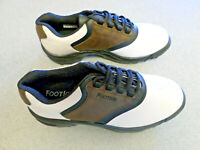 """NEW Footjoy """"Greenjoys"""" white, brown and black leather golf shoes, Men's 8 M"""