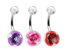 Rose in Ball - Belly Bar - Choose Colour & Length: 6mm 8mm 10mm 11mm 12mm 14mm