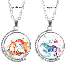 Fox and butterfly Time Gemstones Men 's and Women' s Pendant Necklace Jewelry