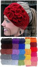 Womens Winter Warm Fashion Wide Head Band Flower Crochet Chunky Knitted Headband