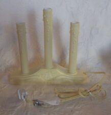 "Vtg Christmas Candle Window Plastic Decoration Ivory White 8"" Tall"