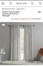"""West Elm Bomu Curtains 48X96"""" Midnight, Set of 2 Panels NEW Free Shipping!"""