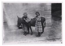 PHOTO ANCIENNE Cheval Poney Équitation Deux petites filles Chaton Vers 1900