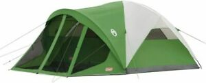 Coleman Dome Tent with Screen Room | Evanston Camping 6-Person, Green