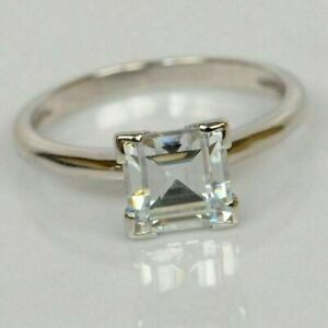 1.50Ct Asscher Cut White Simulated Diamond 14K White Gold Plated Engagement Ring