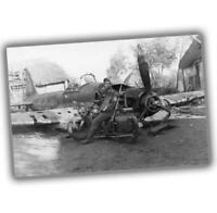"""War Photo Wehrmacht soldier on motorcycle posing next to the IL-2 """"4 x 6"""" inch S"""