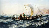"""Oil painting Hans Dahl - a blustery crossing boat on ocean & waves on canvas 36"""""""