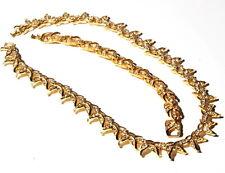 Vintage gold floral link necklace bracelet set Czech crystal glass rhinestones