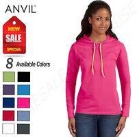 NEW Anvil Women's Lightweight Long Sleeve Hooded T-Shirt M-887L