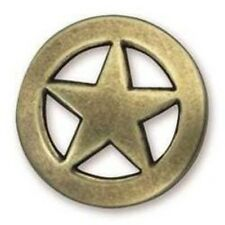 "1-1/2"" Antique Brass Star Round Concho - Screwback"