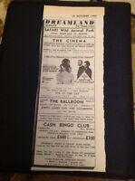 H2-1 Ephemera 1969 Advert Margate Dreamland Jimmy James The Vagabonds Ritual