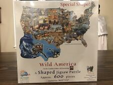 Wild America Shaped Jigsaw Puzzle American Wildlife theme by SunsOut 600 Pc NEW