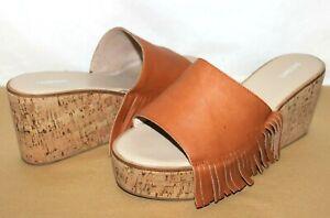❤️LANDS'END Fringe Whiskey Leather Cork-Wedge Platform Slide 9 EXCELLENT!L@@K!13