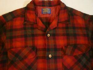 PENDLETON Vintage Made In USA Red Plaid Wool Shirt M Great Condition FREE SHIP