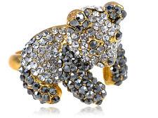 Golden Tone Petite Clear Black Genuine Rhinestone Encrusted Zoo Panda Bear Ring