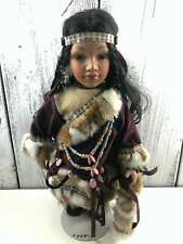 """Vintage Cathay Collection Porcelain Native American Girl Doll - 16""""- Stunning"""