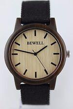 BEWELL Horloge en bois Montre pour hommes femmes de Santal 42mm toile bracelet