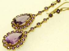 SUPERB 9ct Genuine Yellow Gold NATURAL Amethyst Drop Earrings X-LONG 6cm 2inches