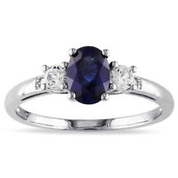 Fine 950 Platinum Ring 2.20 Ct Blue Sapphire Diamond Engagement Ring Size M N O
