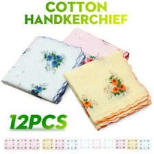 12Pcs Lot Ladies Women Vintage Cotton Quadrate Hankies Floral Handkerchief Decor