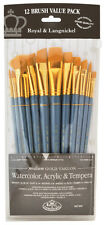 Royal Langnickel Brushes 12 Pc Long Handle Painting Art Gold Taklon RSET-9307