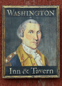 "Medium Repro-Original Art - Trade Sign ""Washington Inn & Tavern"" On Wood"