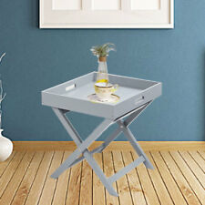 Wooden Tray Butler Table Grey White Serving Folding New