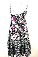 Lilka Sun Dress Sz Medium Green Pink Beige Floral Layered Hem Spaghetti Straps