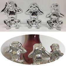 Design 3x Deko-Figur Affe Set Porzellan Silber Emoji Augen Ohren Mund Dekoration