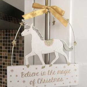 SHABBY COUNTRY STYLE CHIC UNICORN BELIEVE IN THE MAGIC OF CHRISTMAS SIGN PLAQUE
