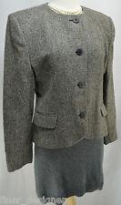 Vtg Jones New York herringbone 100% wool blazer button jacket collarless Size 12