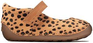 BNIB Clarks Toddler Girls Tiny Mist Animal Print Leather Shoes F/G Fitting