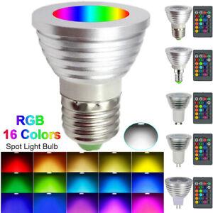 E26/E27 E14 GU10 GU5.3 MR16 3W LED RGB Colour Changing Spotlight Light Bulb Lamp