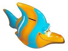 "Large 8"" Bright Colored Piggy Bank Tropical Fish Shaped Ceramic Child Room Decor"