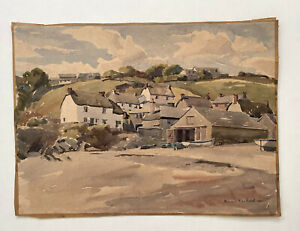 Vintage 1950s Watercolour Painting Seaside Village - Signed Norman Westwood